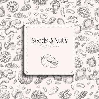Бесшовный фон с семенами и орехами