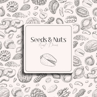 Seamless pattern with seeds and nuts