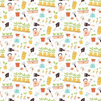 Seamless pattern with seeds and seedlings. germination of sprouts. tools and pots for planting.