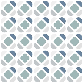 Seamless pattern with semicircles and clover shape in scandinavian style.