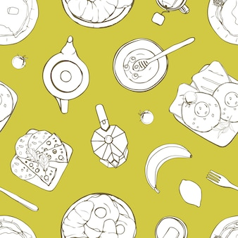 Seamless pattern with served delicious breakfast meals lying on plates hand drawn with contour lines on green background. monochrome illustration for wrapping paper, wallpaper, fabric print.