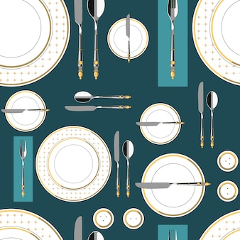 Seamless pattern with served table