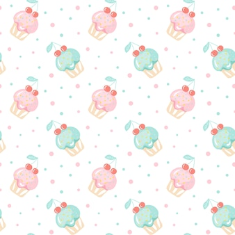 Seamless pattern with a set of  doodle cute cupcakes, hand drawn muffin