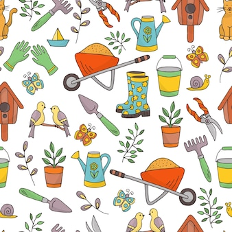 Seamless pattern with a set of garden tools
