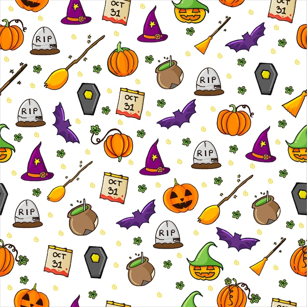 Seamless pattern with set of halloween background with thin outline. hand drawn . doodle halloween party.