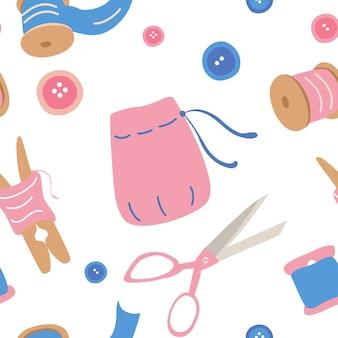 縫製アクセサリーとのシームレスパターン針仕事アクセサリー針糸