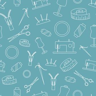 Бесшовный фон с инструментами для шитья и вышивки