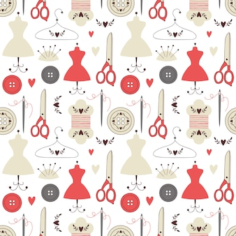 Seamless pattern with sewing elements.