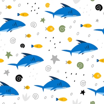 Seamless pattern with sharks and fish.