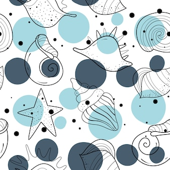 Seamless pattern with shells. Scandinavian motive