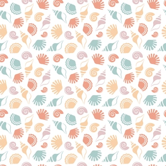 Seamless pattern with shells.