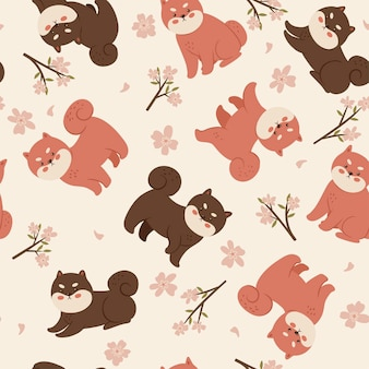 Seamless pattern with shiba inu and cherry flowers