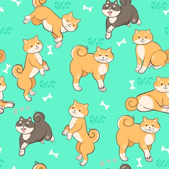 Seamless pattern with shiba inu on a green background.