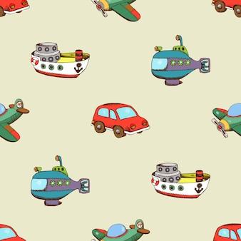 Бесшовный фон с кораблем, автомобилем и самолетом. транспорт