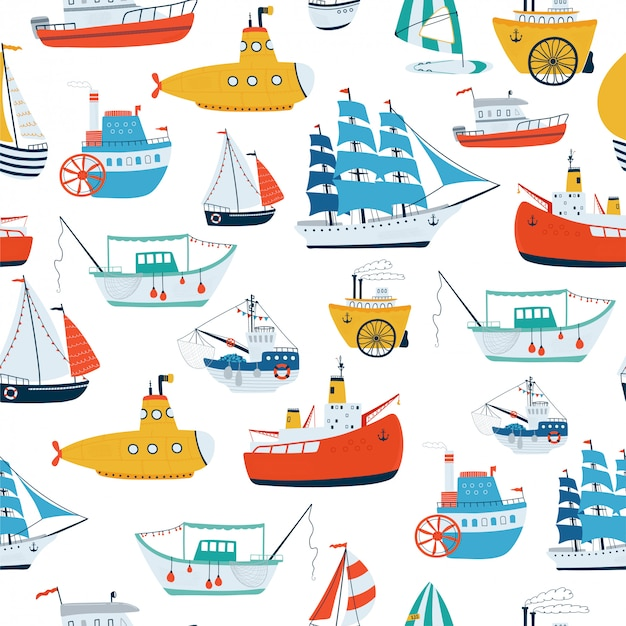 Seamless pattern with ship in cartoon style