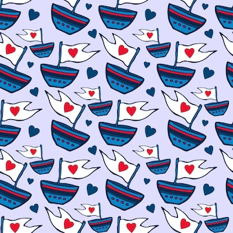 Seamless pattern with ship hand drawn.