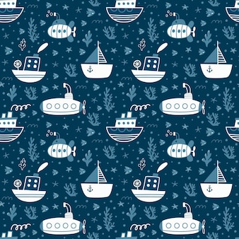 배와 잠수함과 완벽 한 패턴