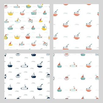 船、潜水艦、ヨット、ヨットとのシームレスなパターン。海上輸送。かわいい漫画のマリンパターン