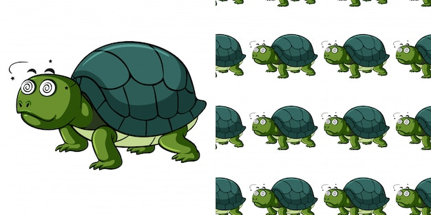 Seamless pattern with sick turtle