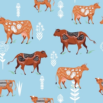 Seamless pattern with silhouettes of cows and flowers