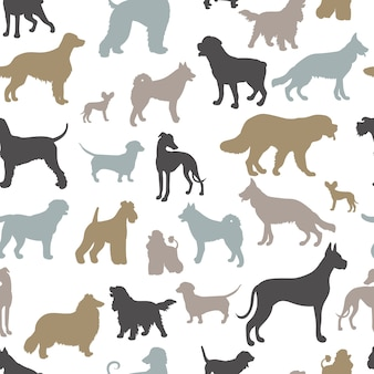 さまざまな品種の犬のシルエットとシームレスなパターン