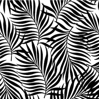 Seamless pattern with silhouettes of palm tree leaves in black on white background.