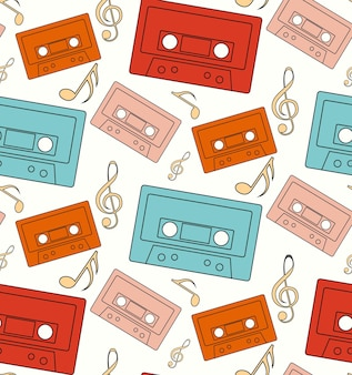 노트와 음악 테이프의 실루엣으로 완벽 한 패턴