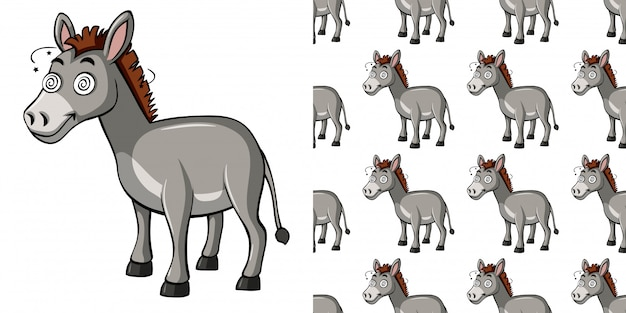 Seamless pattern with silly donkey