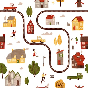 Бесшовный фон с простыми яркими домами, деревьями, машинами и персонажами
