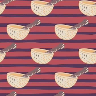 シンプルな乳鉢と乳棒の飾りとのシームレスなパターン