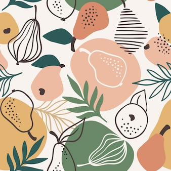 Seamless pattern with simple pears. trendy hand drawn textures.