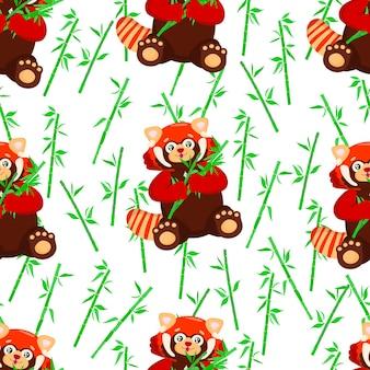 Бесшовные модели с сидением милая красная панда с бамбуковой маленькой пандой узор ailurus fulgens