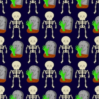 Seamless pattern with skeletons and tombstones
