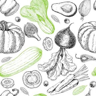 野菜のスケッチとのシームレスなパターン。野菜の背景。健康食品。白い背景の上の野菜。図