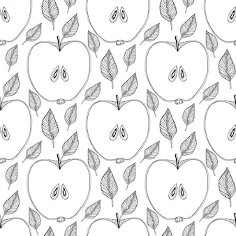 Seamless pattern with sketched apples