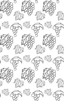 Бесшовный фон с эскизами винограда и виноградных листьев Premium векторы