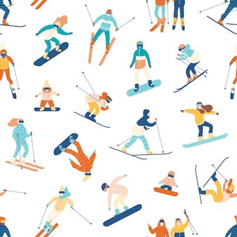 Seamless pattern with skiing and snowboarding people on white.