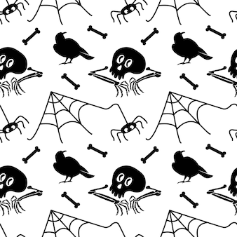 Seamless pattern with skull bones spider web spider isolated on white background