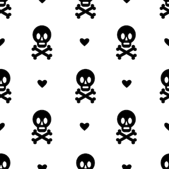 Seamless pattern with skull and crossbones heart isolated on white background  design ofhalloween