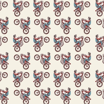 Seamless pattern with the skull rides the motor cafe racer