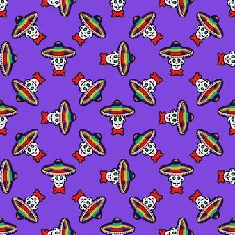 Seamless pattern with a skull in a sombrero hat a pattern with sugar skulls background for halloween...