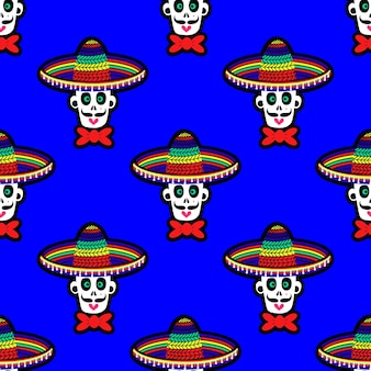 Seamless pattern with a skull in a sombrero hat