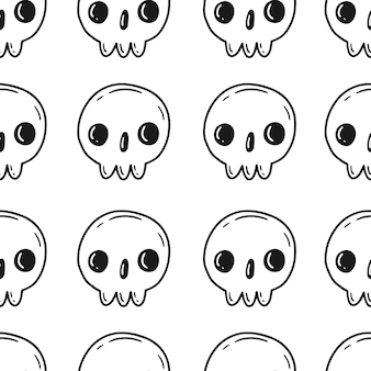흰색 바탕에 귀여운 만화 낙서 스타일의 두개골과 원활한 패턴
