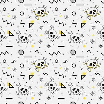 Seamless pattern with skulls. memphis style.