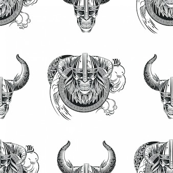 Seamless pattern with skulls in viking helmets.