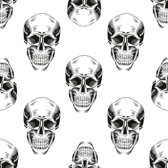 Seamless pattern with skulls on a  white background.