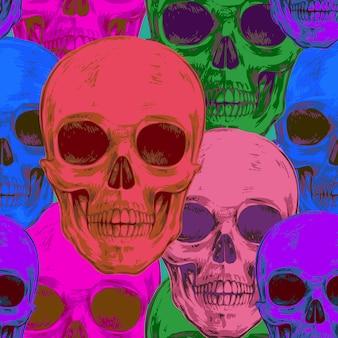 Seamless pattern with skulls.