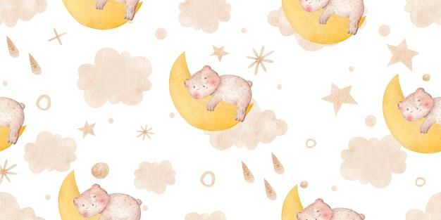 금색 귀여운 유치한 삽화로 만든 하늘과 잠자는 곰 구름 별과 원활한 패턴