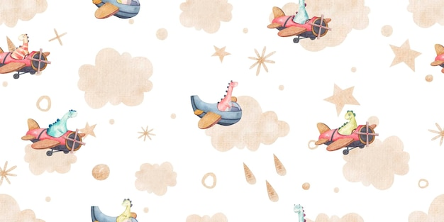 Seamless pattern with sky and dinos, clouds, dots, stars made of gold, cute childish illustration