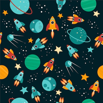 Seamless pattern with sky, stars, planets, rockets.